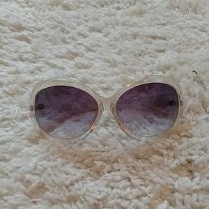 Clear Rimmed Ombre Black Lens Sunglasses